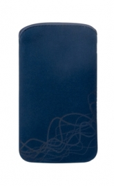 Microfibre Pouch - XL, dark blue-waves